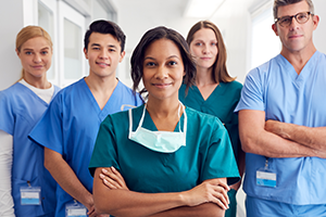 photo of healthcare workers wearing scrubs